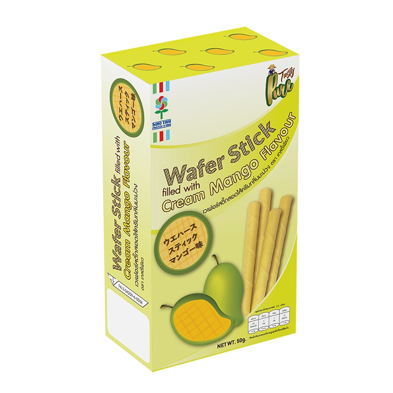 Wafer stick filled with cream Mango flavour